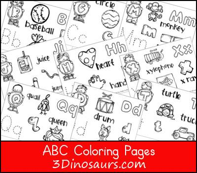 ABC Coloring Pages from 3 Dinosaurs