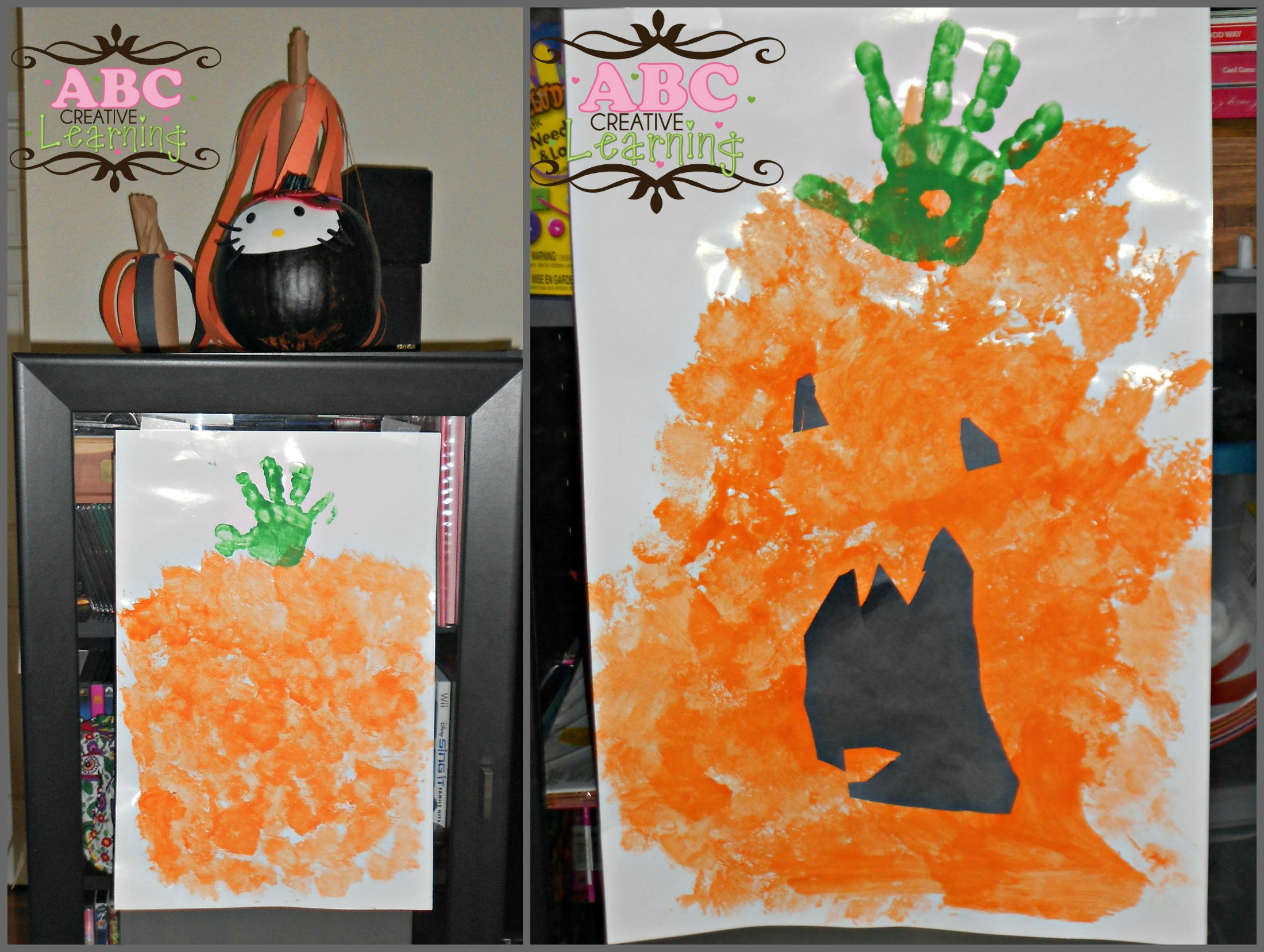 Handprint Sponge Pumpkin Jack O Lantern Arts and Crafts