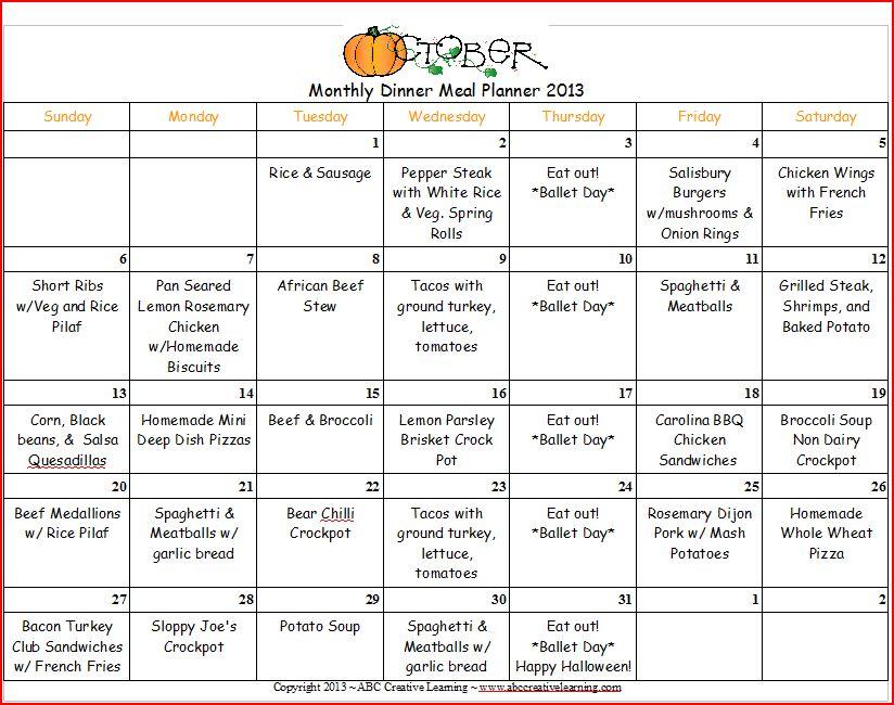 Monthly Menu Calendar : October dinner monthly menu planner simply today life