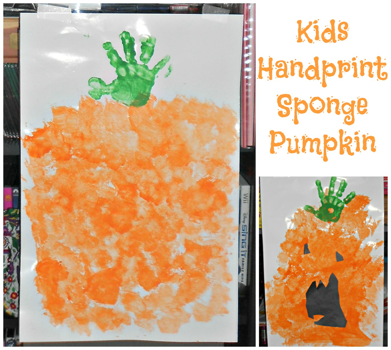 Sponge and Handprint Pumpkins Arts and Crafts