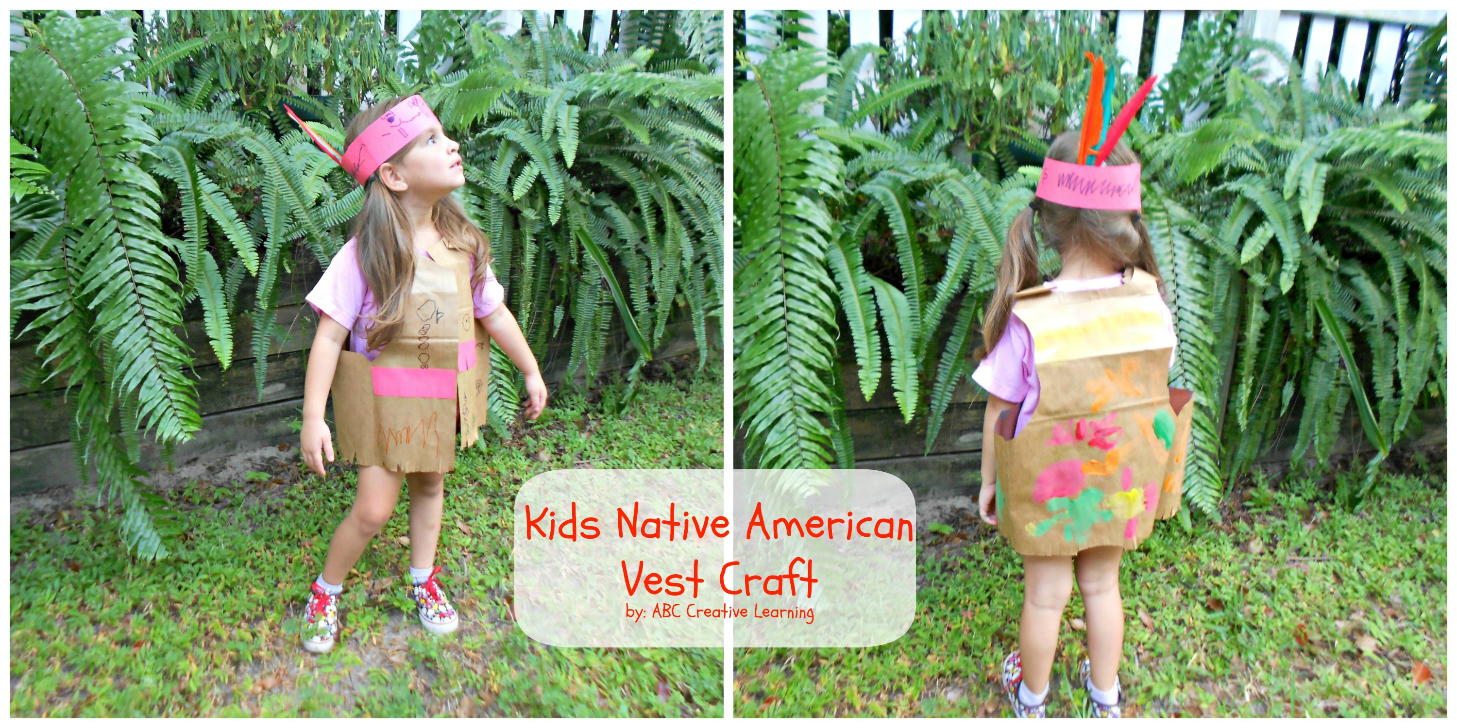Native american kids vest craft for Native american thanksgiving crafts