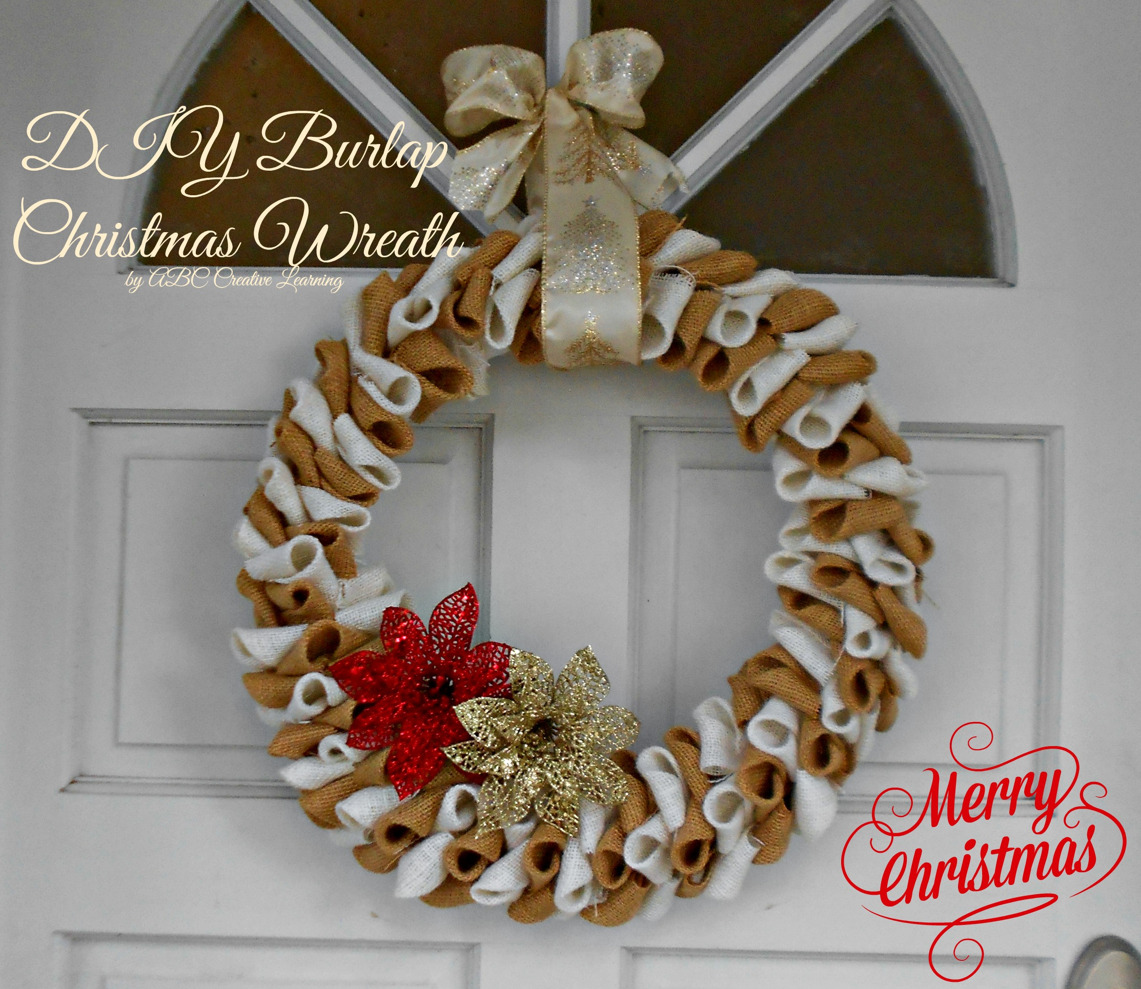 Burlap christmas wreath abc creative learning sugar Christmas wreaths to make