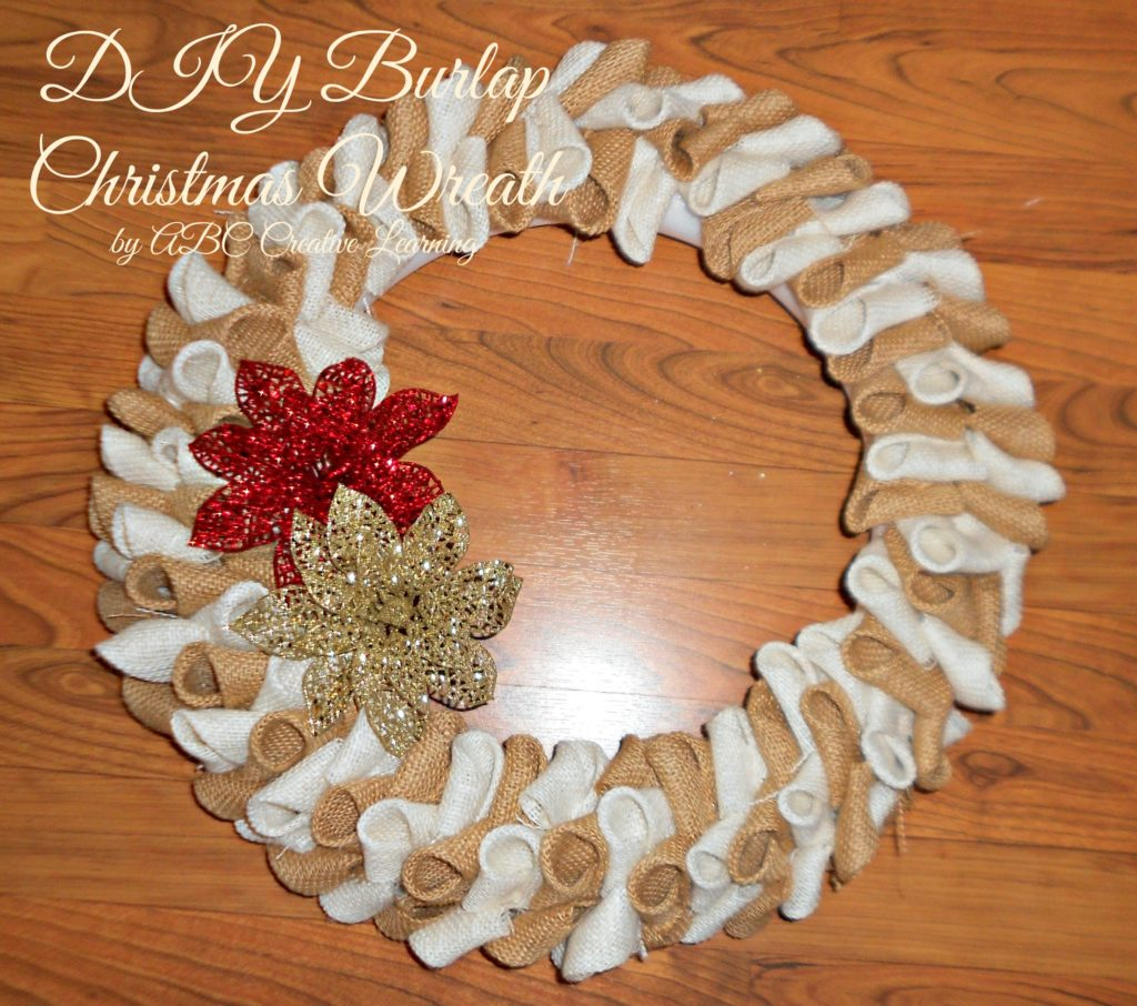 DIY Christmas Burlap Steps