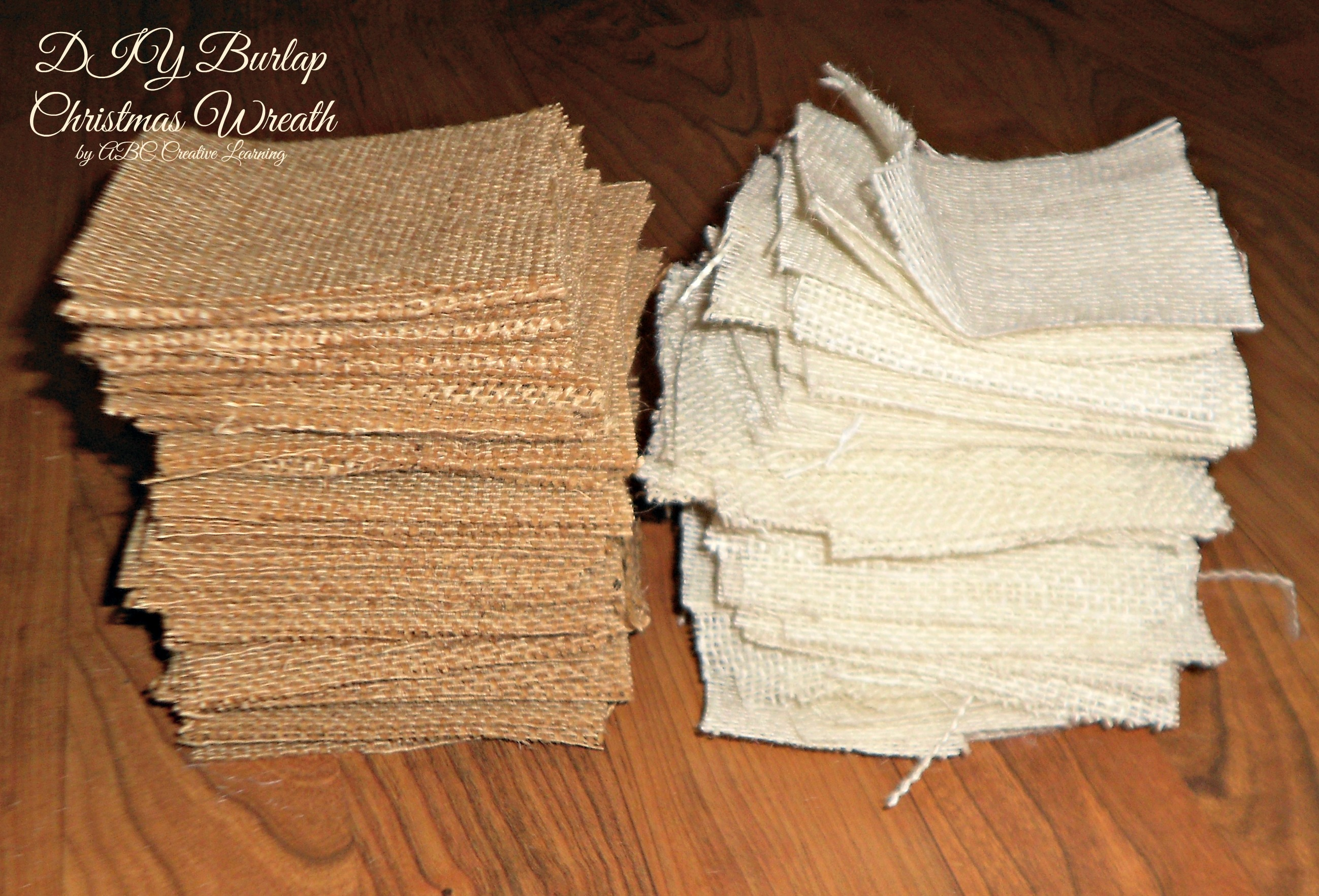 DIY Christmas Wreath Burlap Squares