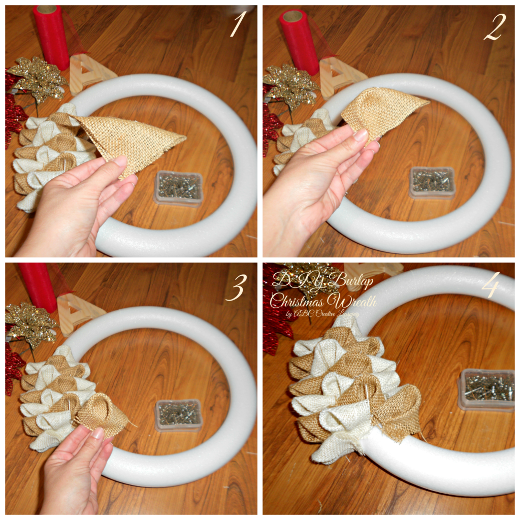 DIY Tutorial Christmas Burlap Wreath
