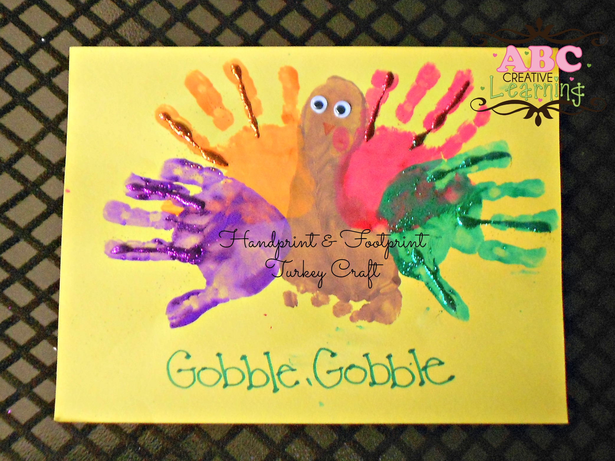 Handprint and footprint kids arts and crafts for Thanksgiving turkey arts and crafts