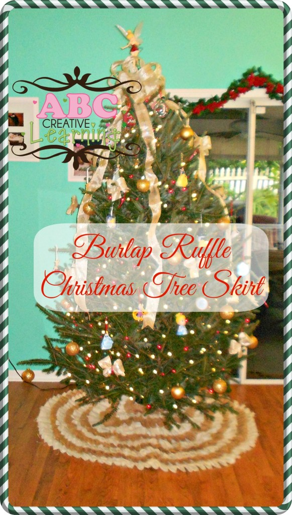 Burlap Ruffle Christmas Tree Skirt Tutorial