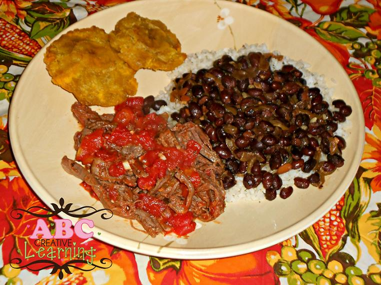 Pulled Beef with Black Beans and Rice with Tostones Recipe