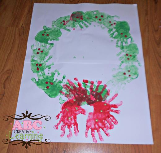 Red and Green Handprint Wreath