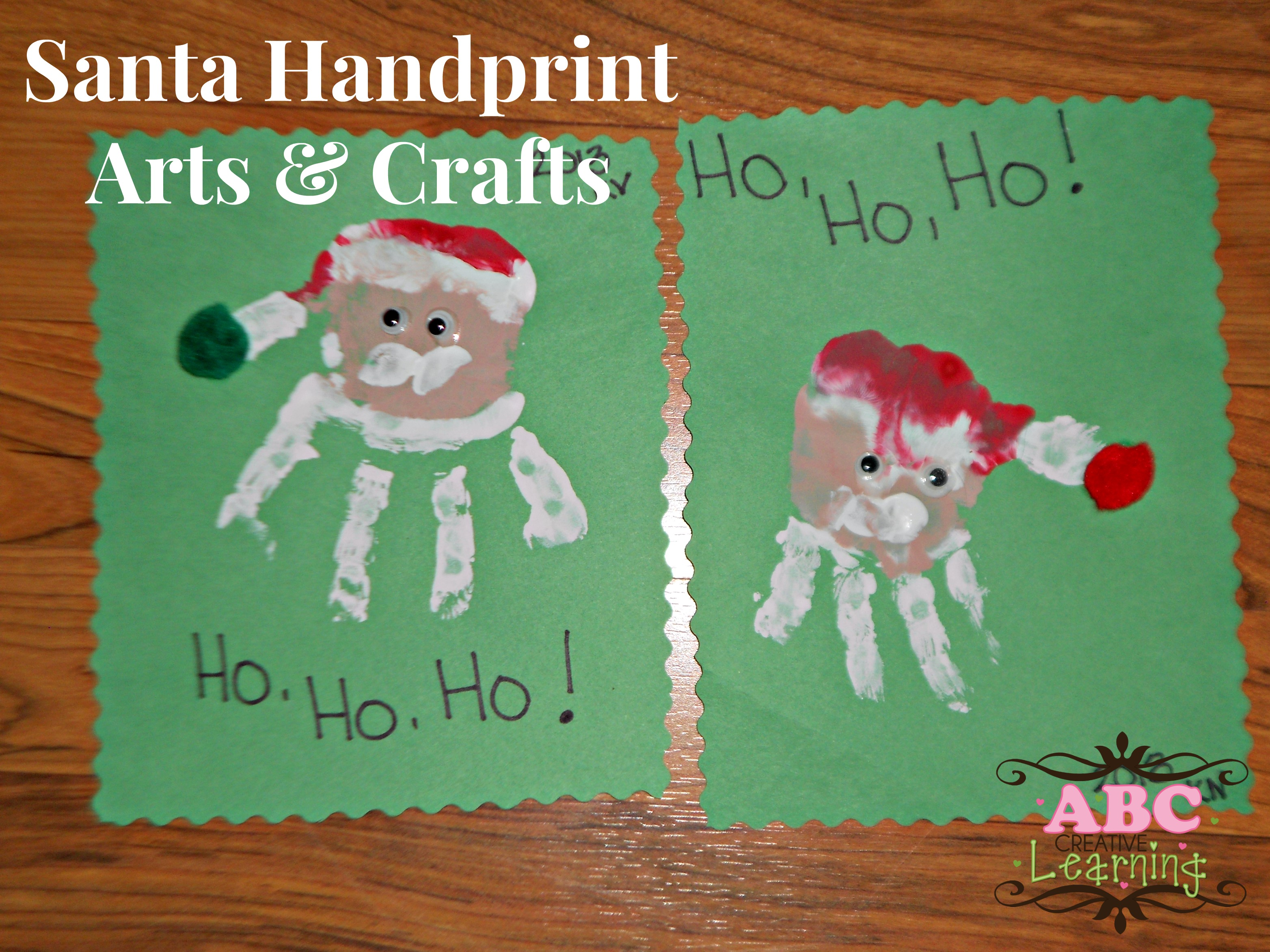 Santa handprint arts crafts for kids for Christmas crafts for toddlers to make for parents