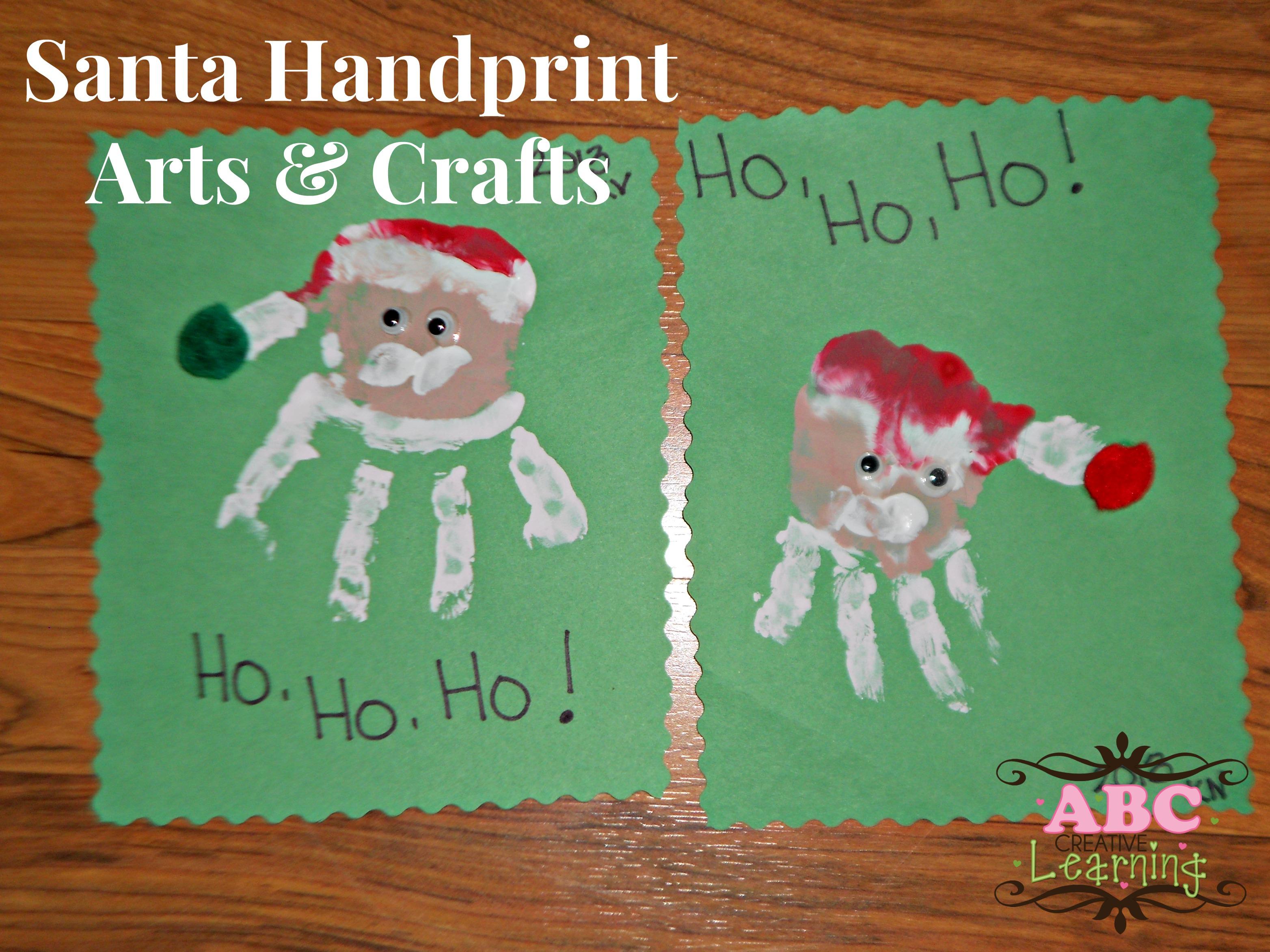 Santa handprint arts crafts for kids for Kid arts and crafts
