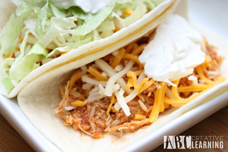 Easy Crock Pot Chicken Tacos dinner