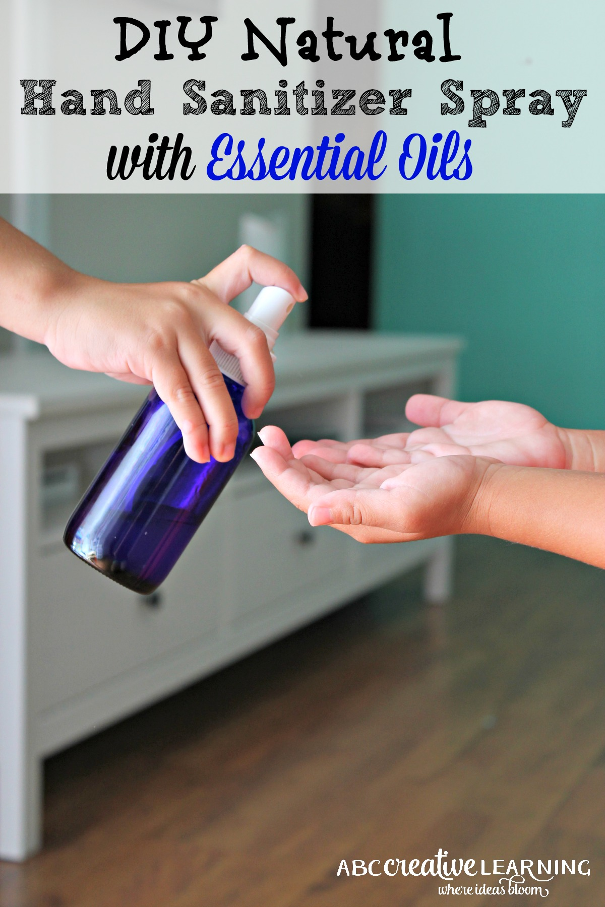 This is my favorite Natural Hand Sanitizer Spray that is created with essential oils! It smells delicious and kills germs! - simplytodaylifecom