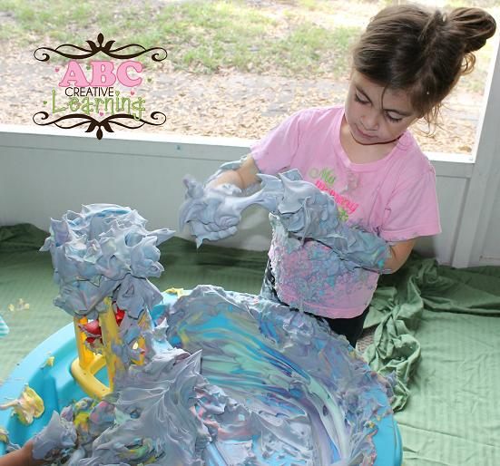Shaving Cream Rainbow Sensory Play