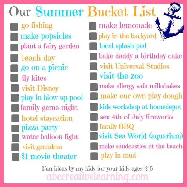 Our Summer Bucket List Printable