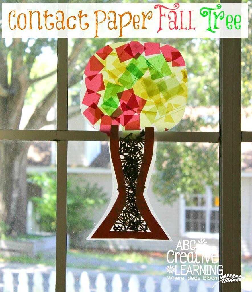 Fine Motor Skills Contact Paper Fall Tree Craft - abccreativelearning.com