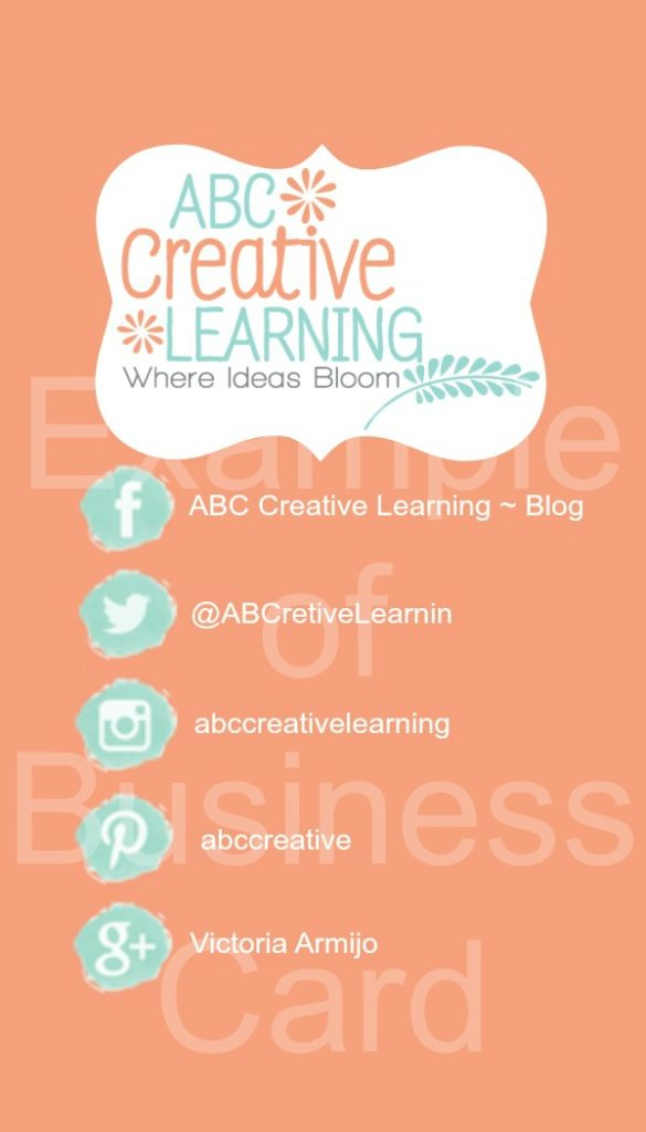 Example of ABC Creative Learning Business Card