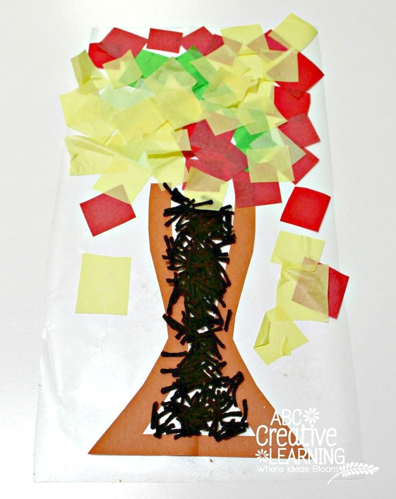 Fine Motor Skills Contact Paper Fall Tree Craft