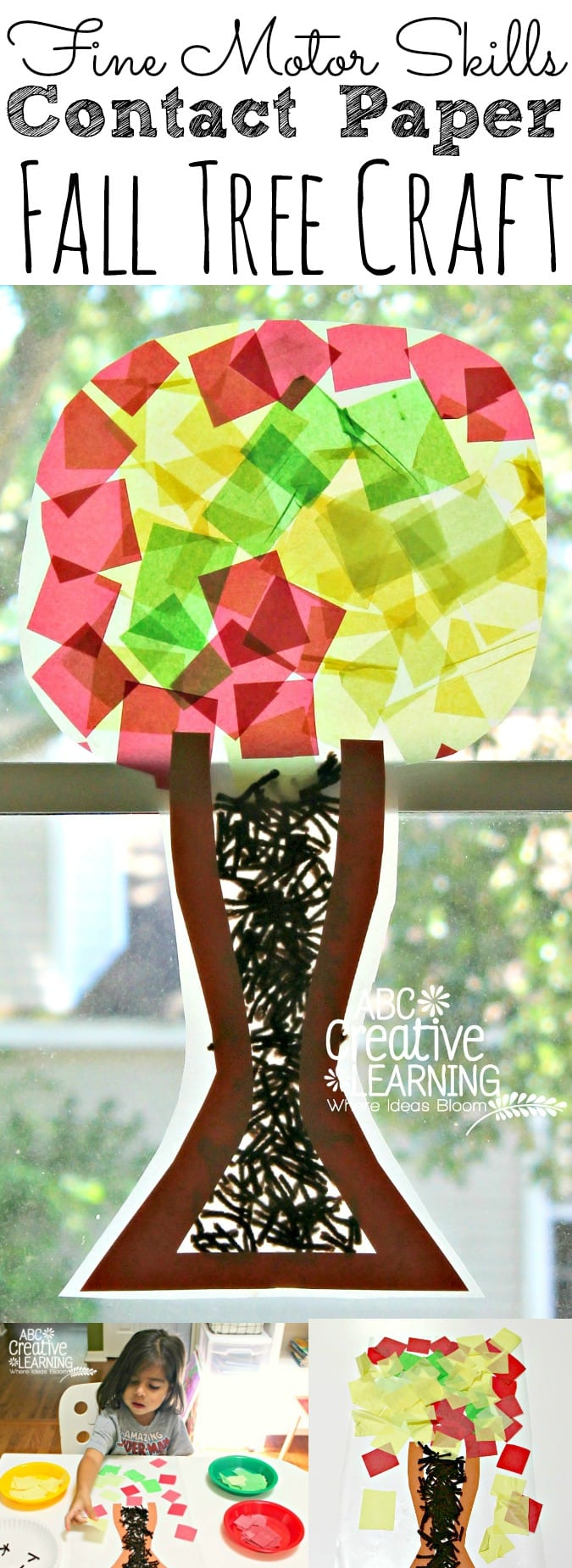 Fine Motor Skills Contact Paper Fall Tree Craft