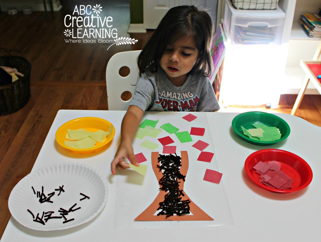 Fine Motor Skills Fall Craft Tree with Contact Paper