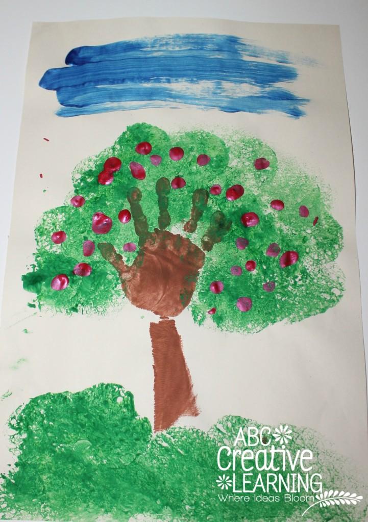 Hand Print Fall Apple Tree Craft for Kids
