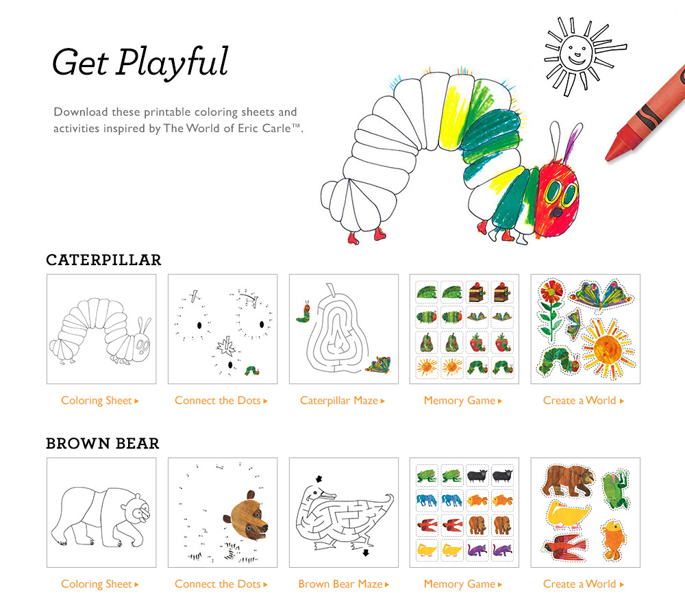 Eric Carle and Gymboree Coloring and Activity Printables