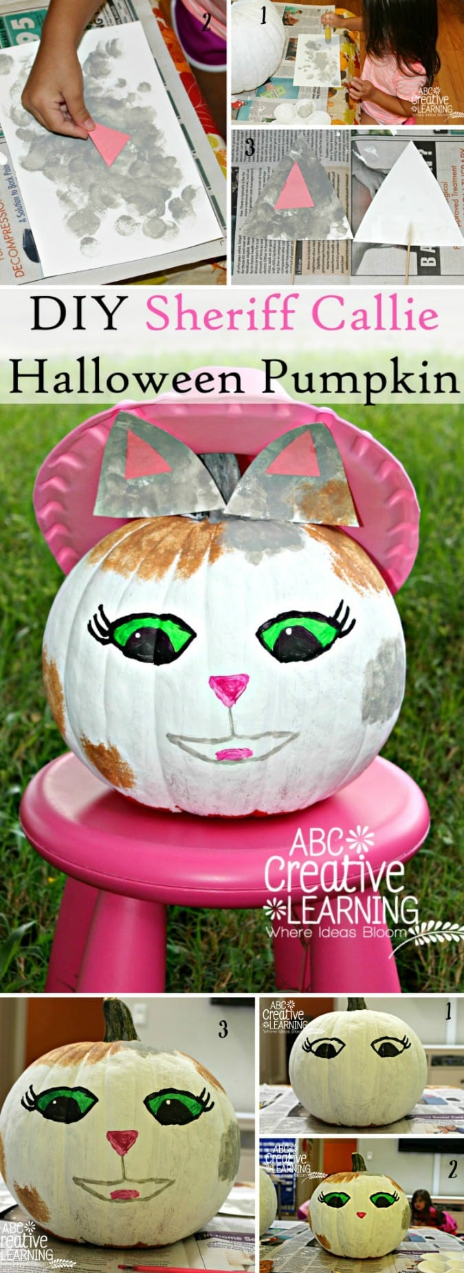 DIY Sheriff Callie Halloween Pumpkin Craft - simplytodaylife.com