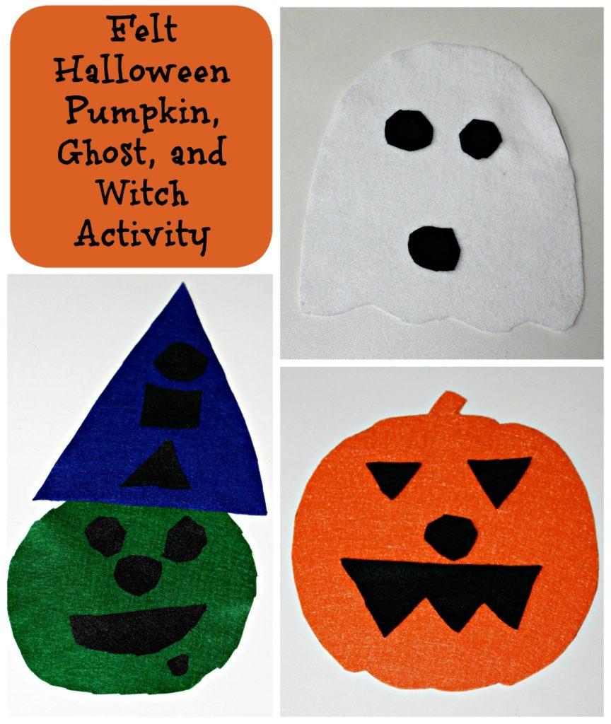 Felt Halloween Pumpkin, Ghost, and Witch Activity