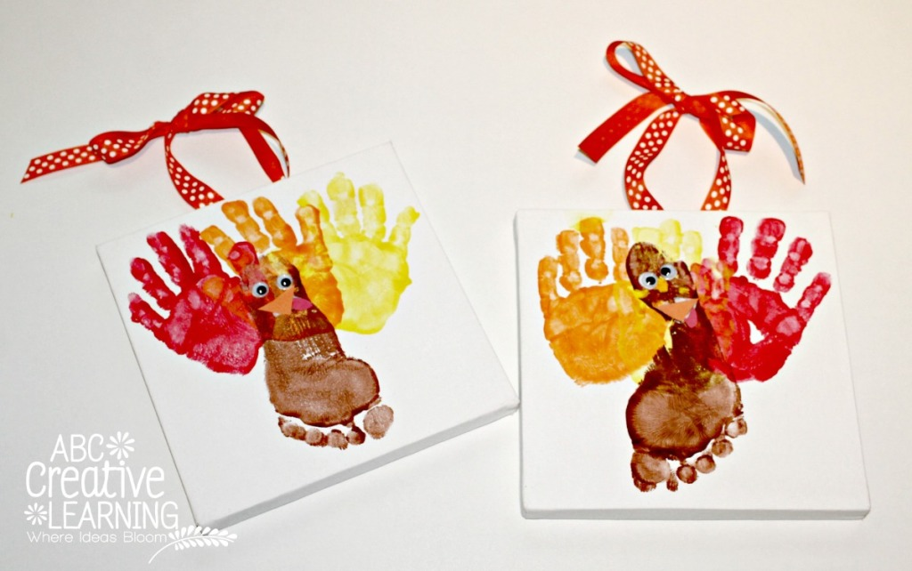Fun Handprint and Footprint Turkey Craft for Kids. T is for Turkey Craft