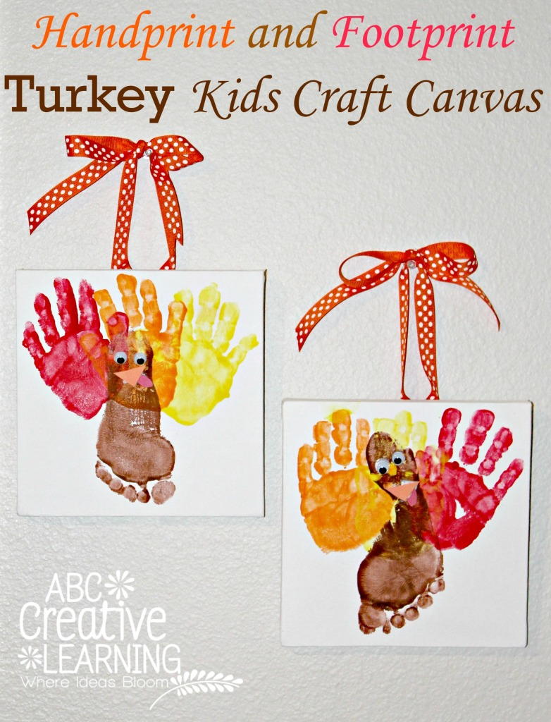 toddler fall crafts handprint and footprint turkey craft canvas 3120