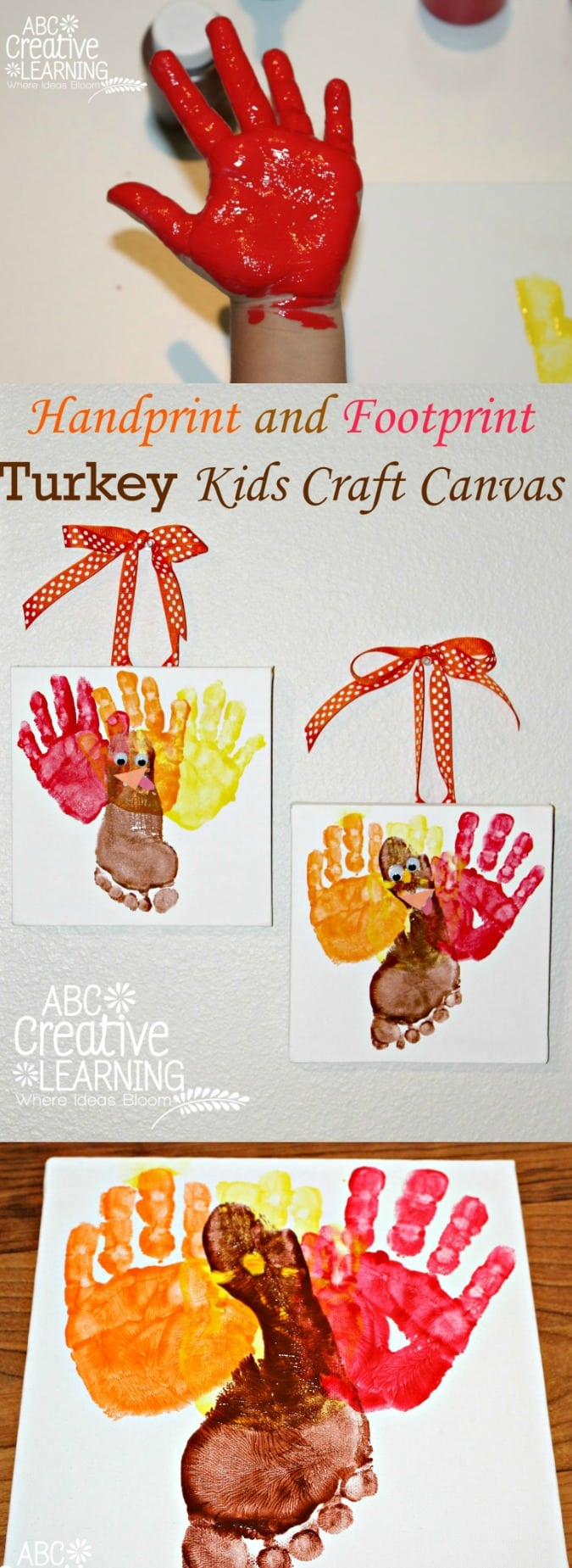 Handprint and Footprint Turkey Kids Craft Canvas - simplytodaylife.com