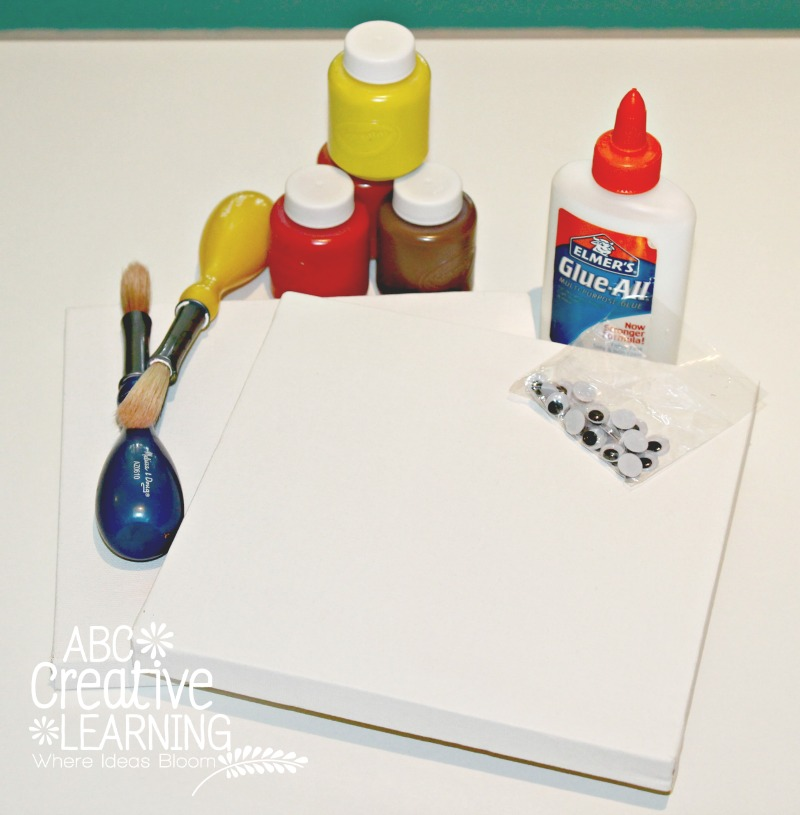 Materials needed for making Handprint and Footprint Turkey Kids Craft Canvas