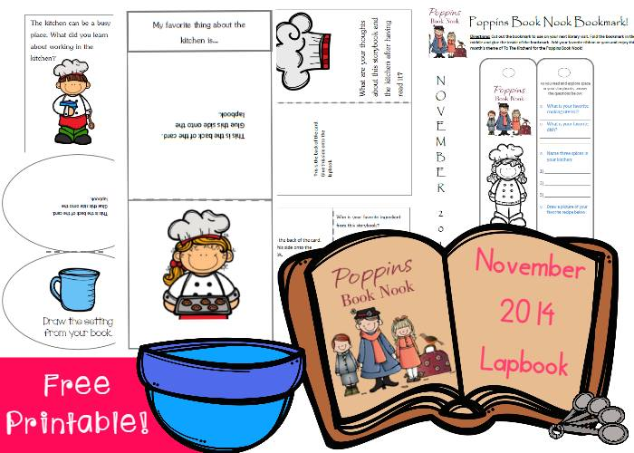 To the Kitchen! Poppins Book Nook FREE LapBook