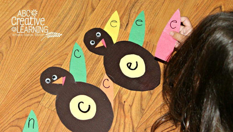 Toddler Name Recognition Turkey Feather Game Activity