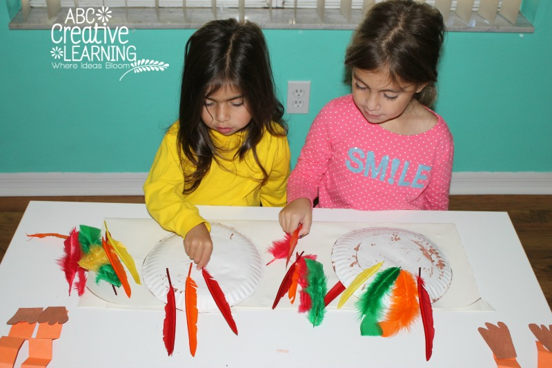 Turkey Feathered Paper Plates Craft