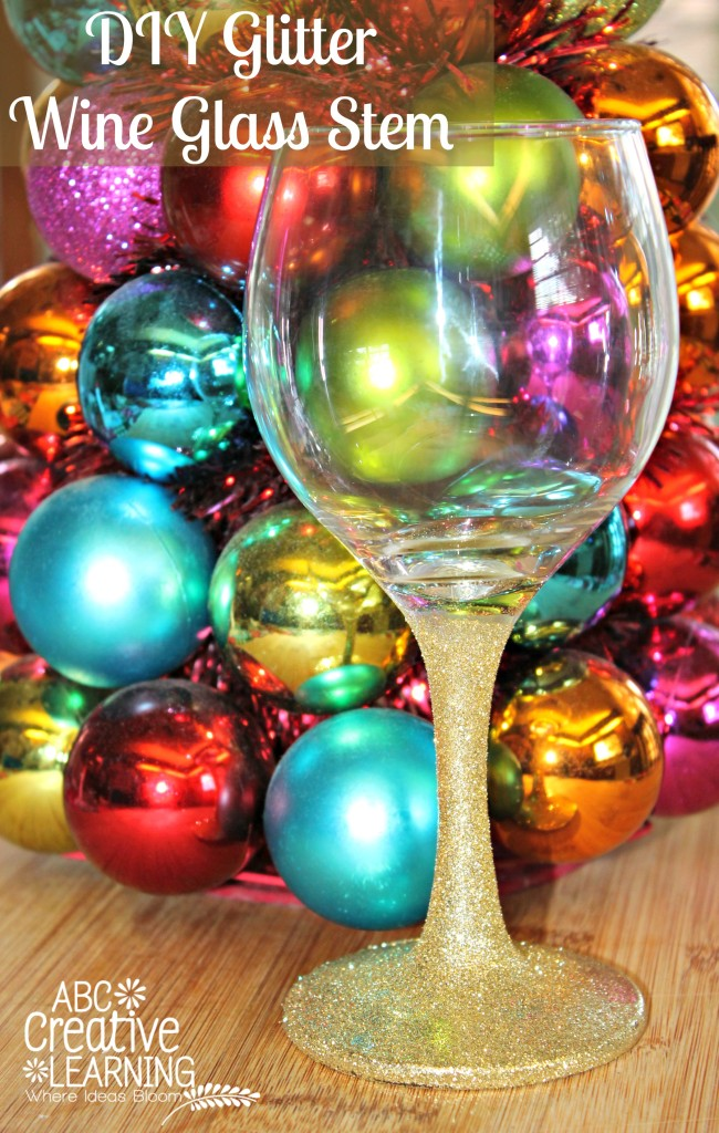 DIY Glitter Wine Glass Stem Perfect for New Years