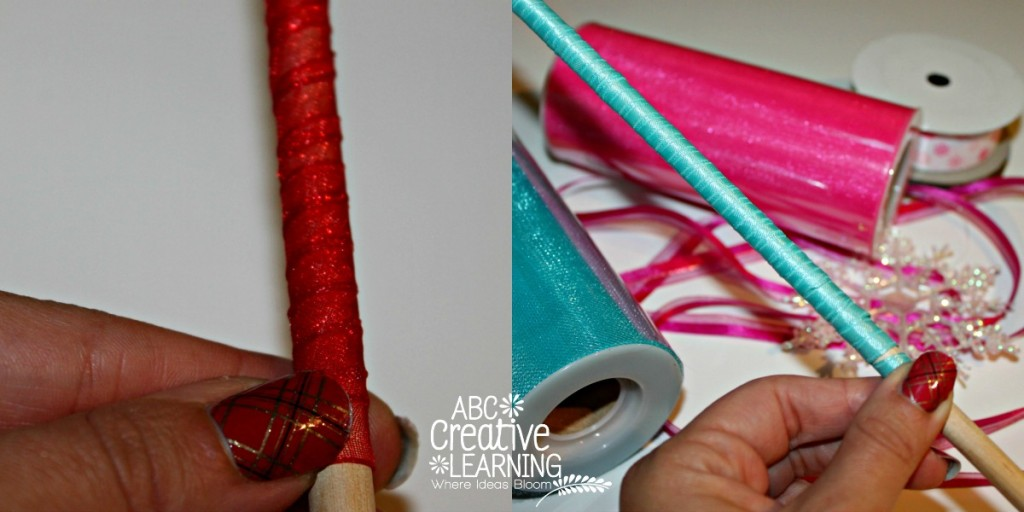 Frozen and Christmas Inspired Dancing Wands Wrapping Ribbon on Wooden Stick