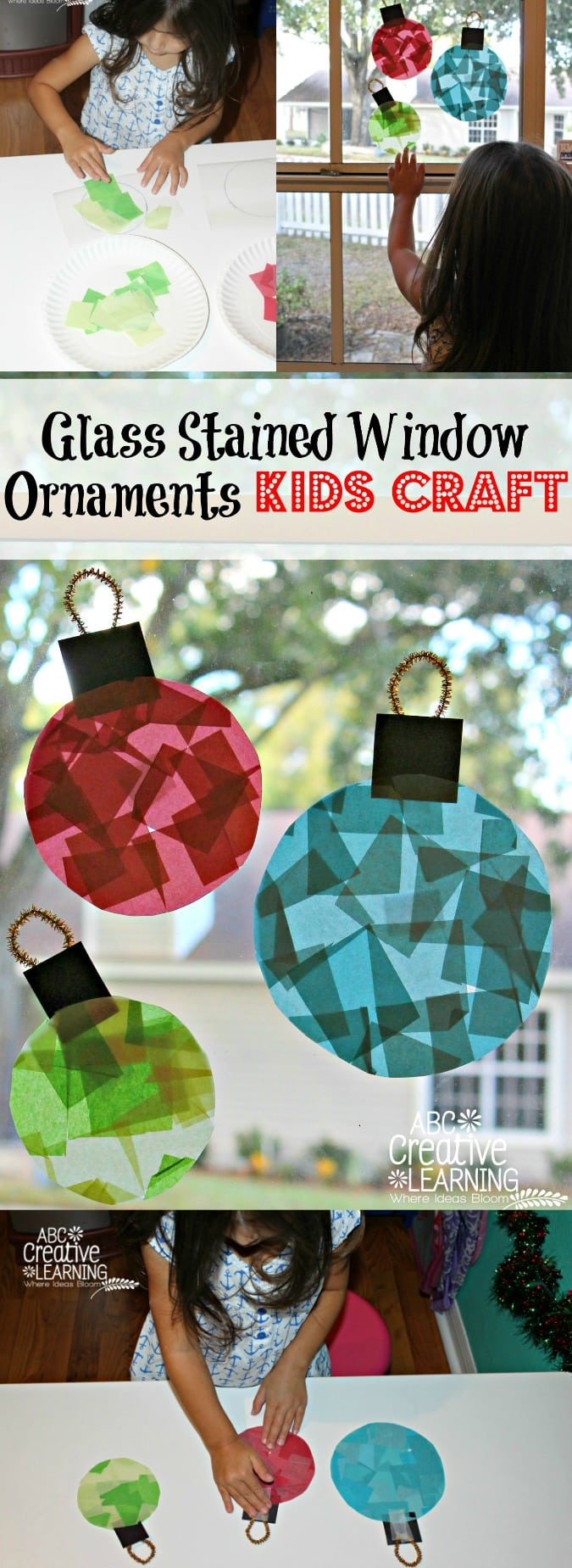 Glass Stained Window Ornaments Kids Craft - simplytodaylife.com