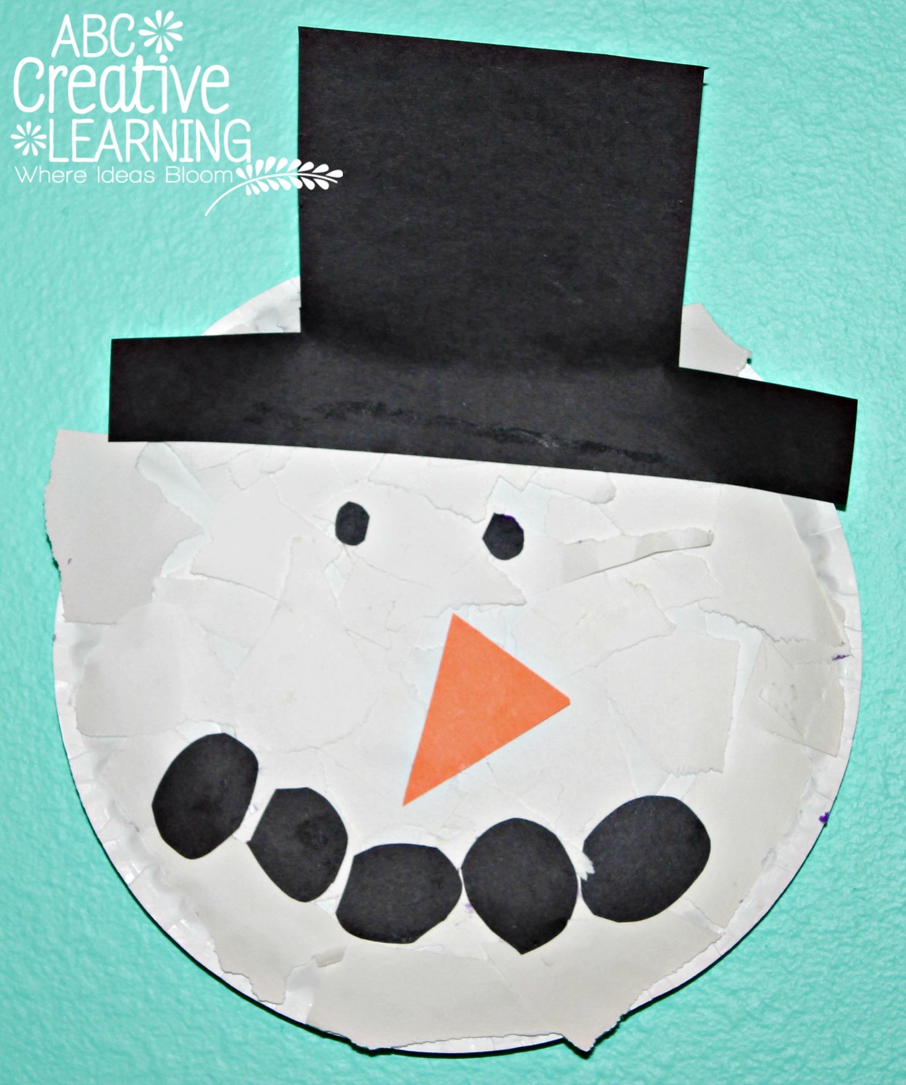 Paper Plate Torn Snowman Kids Fine Motor Skills Craft & Torn Paper Plate Snowman Kids Craft
