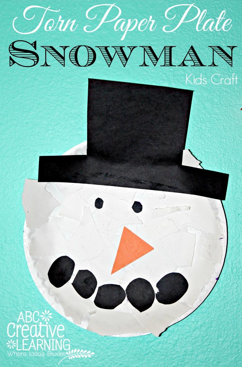 Torn Paper Plate Snowman Kids Craft
