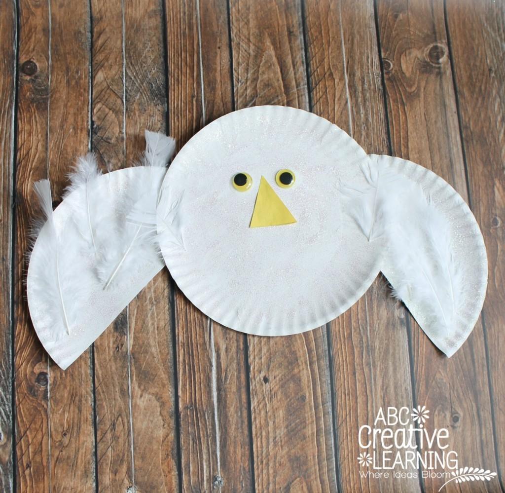 Arctic Paper Plate Snowy Owl Kids Craft