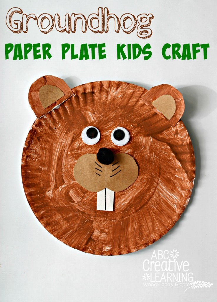 Groundhog Paper Plate Kids Craft