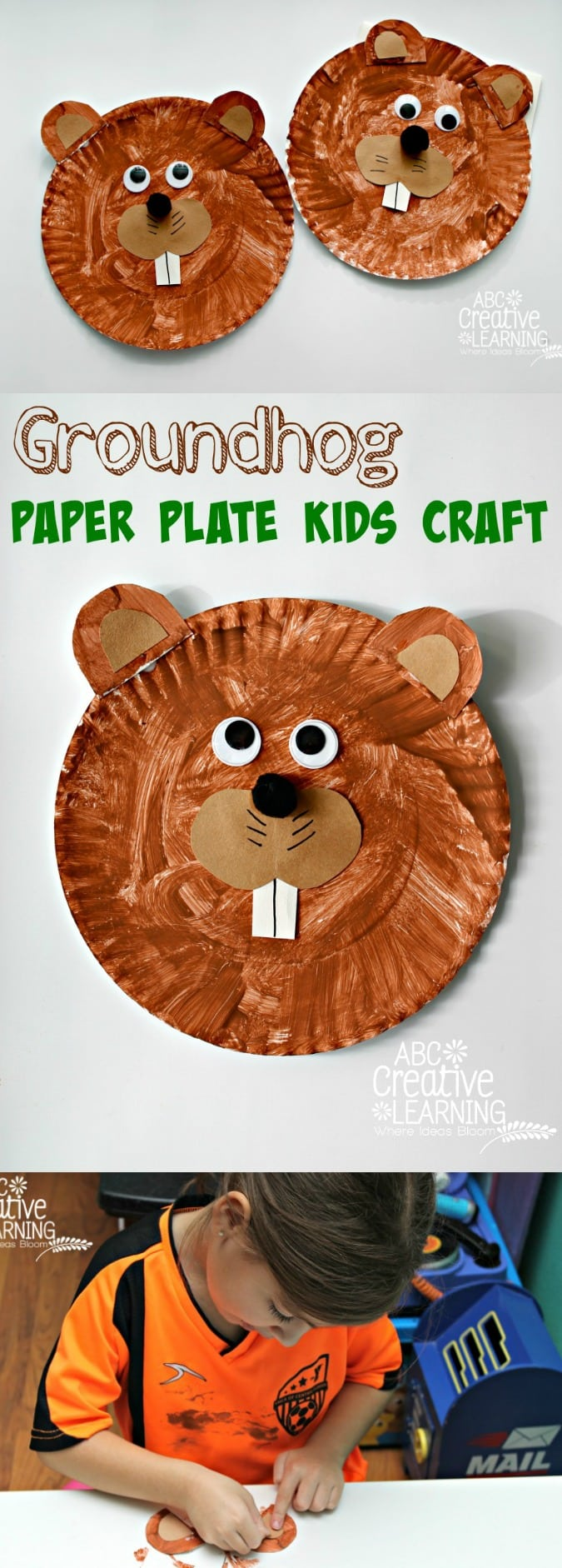 A fun and easy Groundhog Paper Plate Craft for kids - simplytodaylife.com