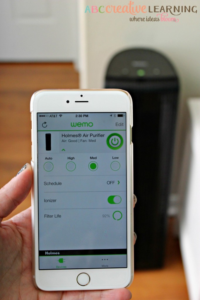 Holmes® Smart Air Purifier with WeMo® Review and Giveaway Wemo App