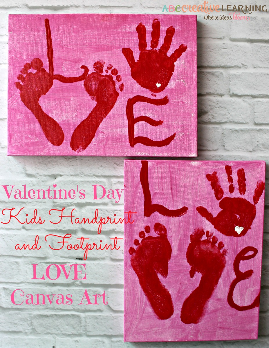 Valentine's Day Kids Handprint and Footprint LOVE Canvas
