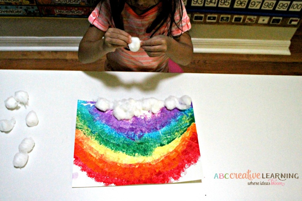 Rainbow Sponge Kids Craft Clouds