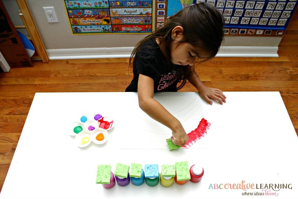 Rainbow Sponge Kids Craft Fine Motor Skills