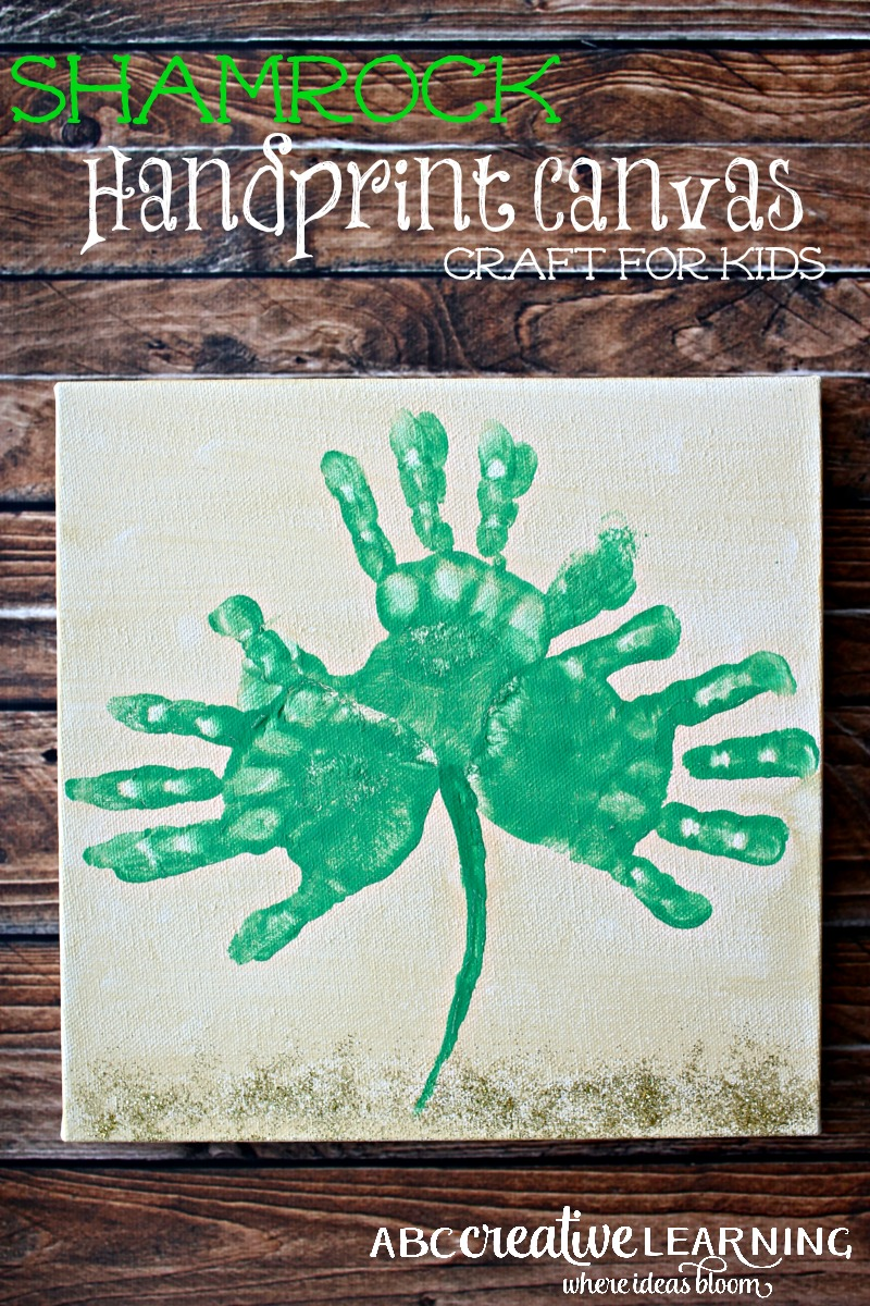 Shamrock Handprint Canvas Crafts for Kids