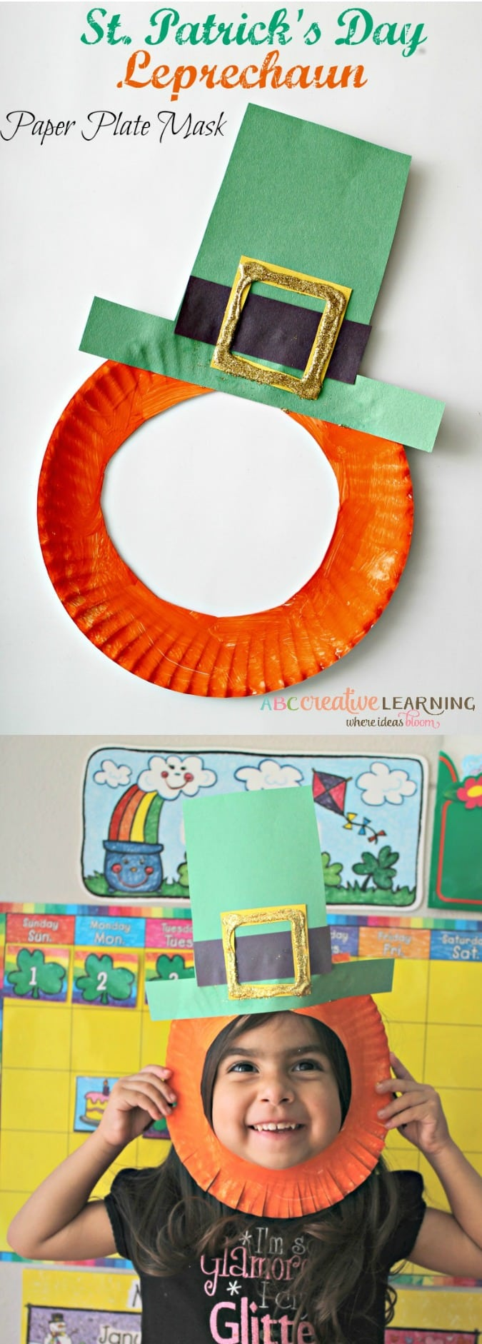 The Luck of the Irish is coming! Create these adorable and easy St. Patrick's Day Crafts! Creating your very own Leprechaun Paper Plate Mask perfect for kids! - simplytodaylife.com