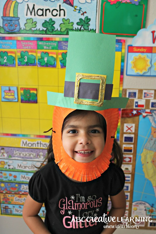 St. Patrick's Day Leprechaun Paper Plate Mask with Strings